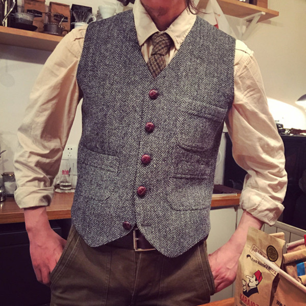 Fashion Grey Wool Herringbone Tweed Vests Slim Men's Suit Vests Custom Made Suit Jacket Men Wedding Men's Dress Groom Vests Bestman Cheap