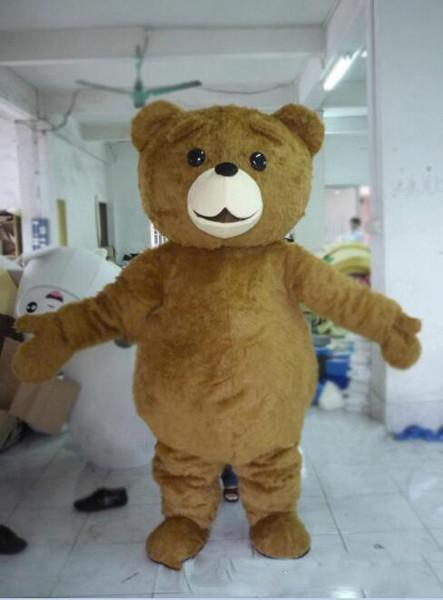 Продажа фабрики горячий талисман взрослый размер мультфильм длинный плюшевый Тед бурый медведь костюм талисмана талисман Хэллоуин костюм Рождество сумасшедший Sa