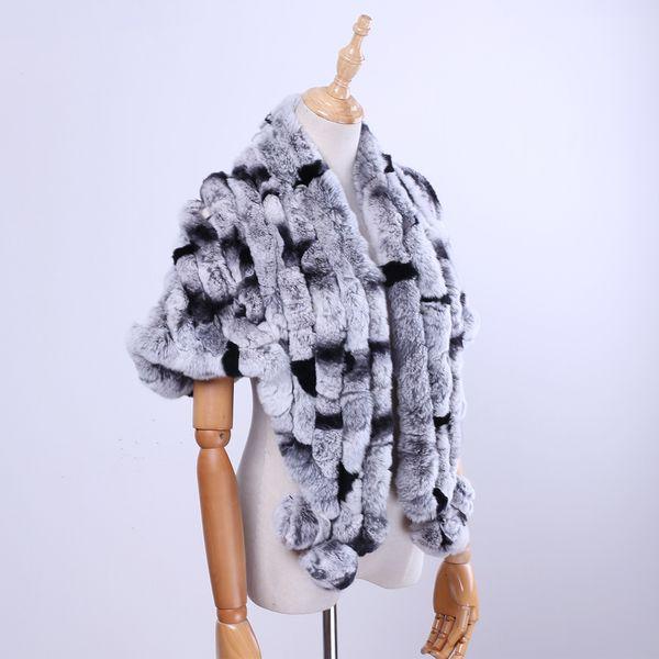 Brand New Women's Lady Fashion Genuine Rex Rabbit Fur Shawl Poncho Fur Cape Scarfs Scarves Wraps Real