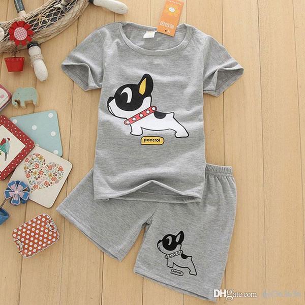 Новые Мальчики Одежда с коротким рукавом Футболка + шорты 2pcs / комплект O-шеи собаки шаблон мальчиков Одежда Set Gray Детская одежда