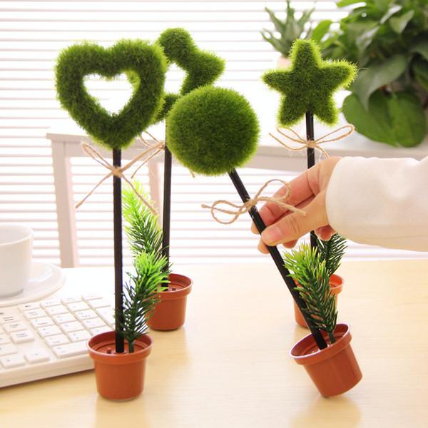 outh Korea creative stationery green garden plant desktop decoration potted flowerpot ballpoint pen cartoon supplies Pen