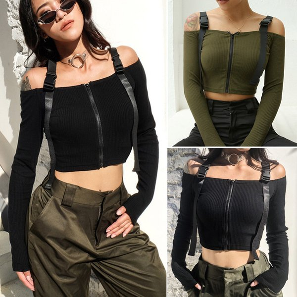 Women T-Shirt Knitted Off Shoulder Chunky Knit Jumper Ladies Sexy Crop Top New Fashion Women T-shirts Streetwear
