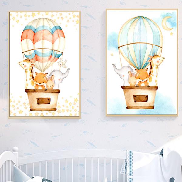 Satin Al Sicak Hava Balonu Fil Zurafa Wall Art Baski Tuval Boyama