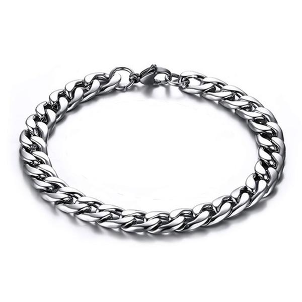 8MM Width Mens Stainless Steel Figaro Twist Link Chain Bracelet 18K Gold Plated