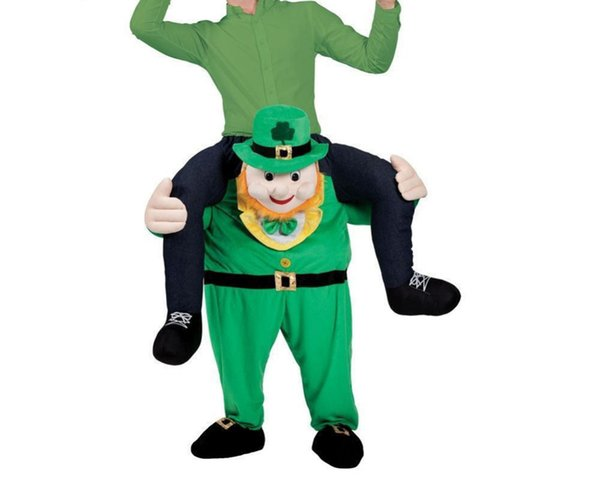 Leprechaun St Patricks Day Carry Me Mascot Costume Halloween Christmas Ride on Piggy Back Fancy Party Funny Dress Adult