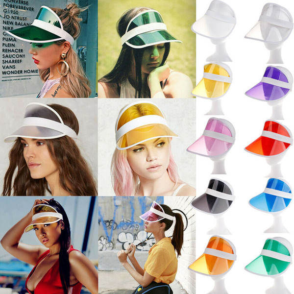 top popular Sun Hat Sun Visor PVC Sunvisor Party Casual Unisex Hat Spring Autumn Clear Plastic Solid Adult Cap AAA676 2020