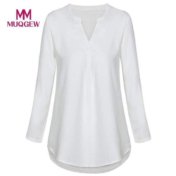 ISHOWTIENDA tops de verano para mujer 2019 tops para mujer con cuello en v camisa blanca de manga larga mujer casual camisa de gasa