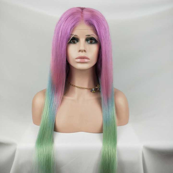 Brazilian Wigs Lace Front Human Hair Wigs 3 Tone Ombre TPink/Blue/Green Color Non Remy Straight Long Wigs Free Shipping