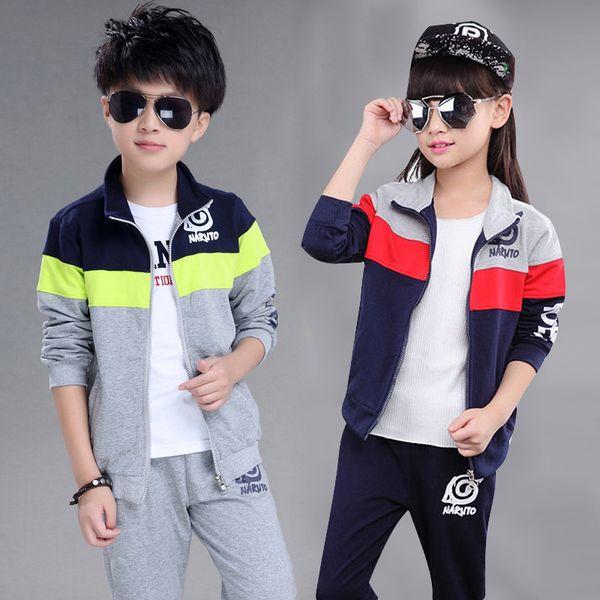 Yeni Erkek Ve Kız Ceket + pantolon Spor Setleri Çocuk giyim Setleri Bahar Ve Sonbahar Dikiş Renk Suits 5-12 Yaş Çocuklar Kıyafetler Y190518
