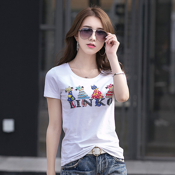 Luxury Fashion Beading Graphic Tees Women's Summer Runway Cotton Short Sleeve T-Shirt Office Lady Business Sexy Slim Plus Size Tops Tees