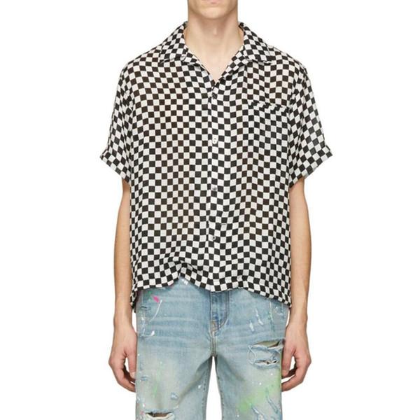 19SS AM1R1 Camiseta de cuadros de seda blanca y negra Camiseta de celosía Camiseta de manga corta Camiseta de moda de calle Camiseta de vacaciones de verano HFYMTX593