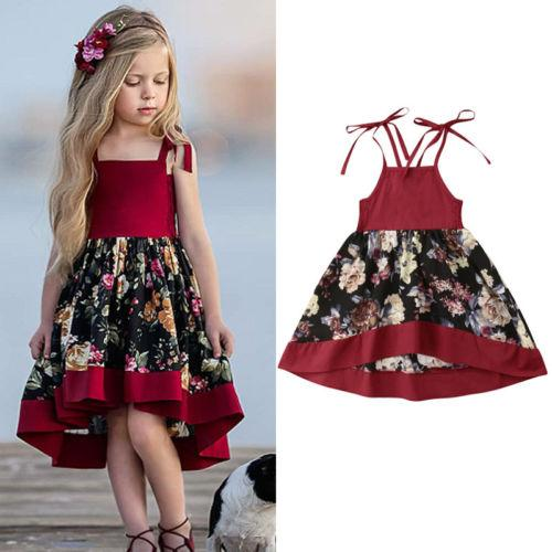 Flower Kid Baby Girls Dress Sleeveless Lace Vintage Party Wedding Holiday Beach Dress For Girls Princess Baby