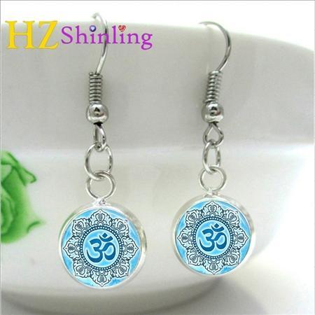 2019 Yoga Jewelry Om Symbol Earring Buddhism Zen Meditation Mandala Art Earrings Glass Cabochon Dome Charm NHE-008