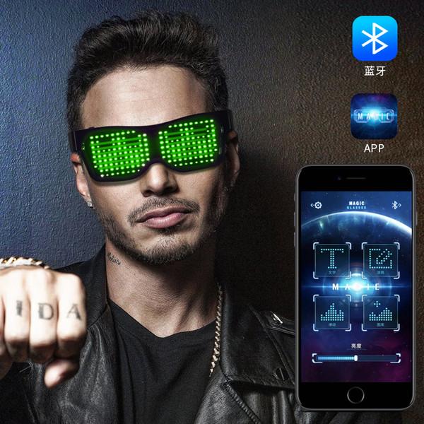 Diseñador Magic LED Eyeglasses Party Glasses Bluetooth APP Control Shield Gafas luminosas Carga USB DIY App Control Gafas luminosas de lujo