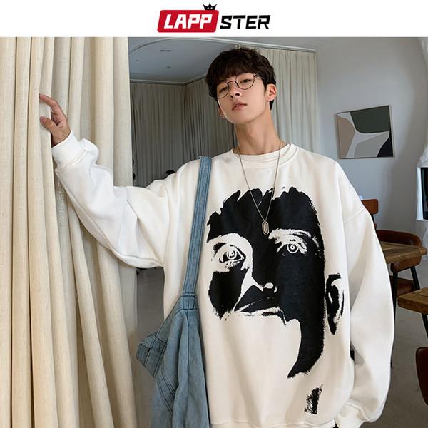 LAPPSTER Men Oversized Japanese Streetwear Hoodies 2019 Autumn Man Harajuku Korean Funny Print Sweatshirts Hoodie Hip Hop Hoodie