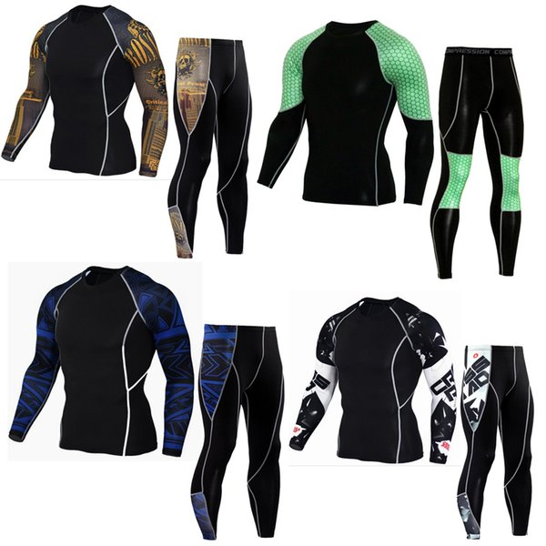 tracksuit for men 2018 rash guard long sleeve crossfit Fitness t shirt Men's thermal underwear compression shirt MMA clothing