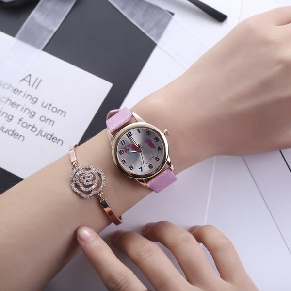 Kids Watch Fashion Cute Cartoon Unicorn Leather Strap Wristwatch Classic Digital Girl Boy Watch Child Quartz Watch Watches