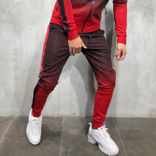 Мужские хип-хоп спортивные костюмы 3D градиент мужские спортивные брюки мужские спортивные кофты полосатые брюки карандаш бесплатная доставка
