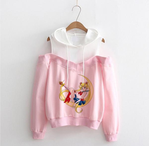 New Sailor Moon off shoulder hoodie Sweatshirt Kawaii Clothing Tops Women Hoodies Harajuku Sailor Moon Sweatshirt clothes