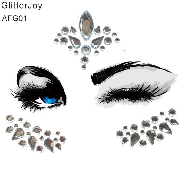 Gioiello acrilico per viso AFG01 che è un adesivo per tatuaggi in cristallo per il viso per i festival Makeup Decor to Sparkle