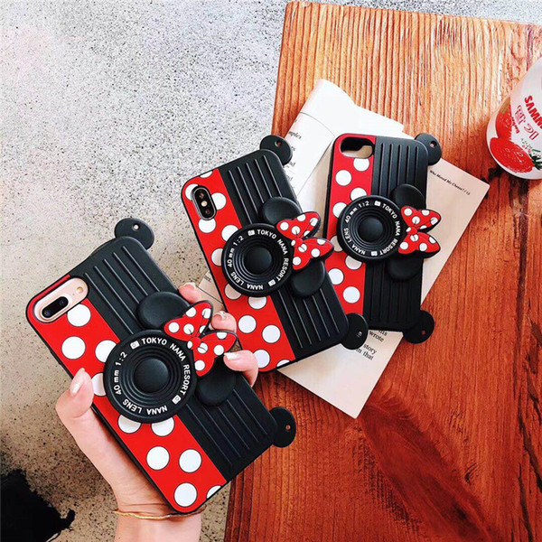 New 3D camera Soft Silicone Anti-Knock cover case for iphone6 plus 7 8 8plus X XR XS MAX With strap Hold phone cases capa