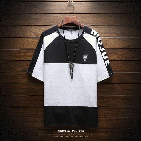 2018 Korean Version Of The New Summer Trend Of Men's Casual Round Neck T Shirt Print Creative Giraffe Short Sleeve Mens T Shirts Y19050701