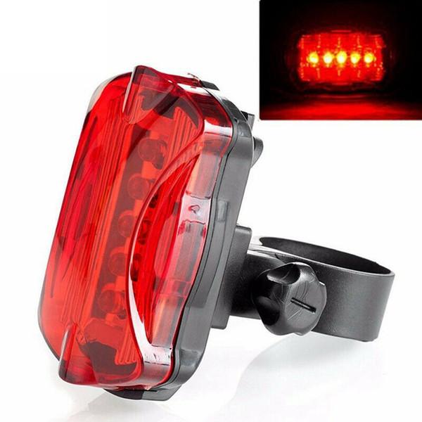 Super helle wasserdichte rote 5 LED Fahrrad Rückleuchten Sicherheitswarnlicht Batterie Fahrrad Sicherheitslicht LJJZ40