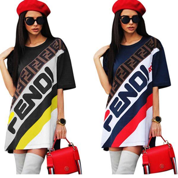 Ropa de las mujeres Vestidos Deportes Camiseta Larga Mini Falda FF Impresión de la letra Vestido de Verano de Moda Casual T-shirt Vestido Falda Corta C436