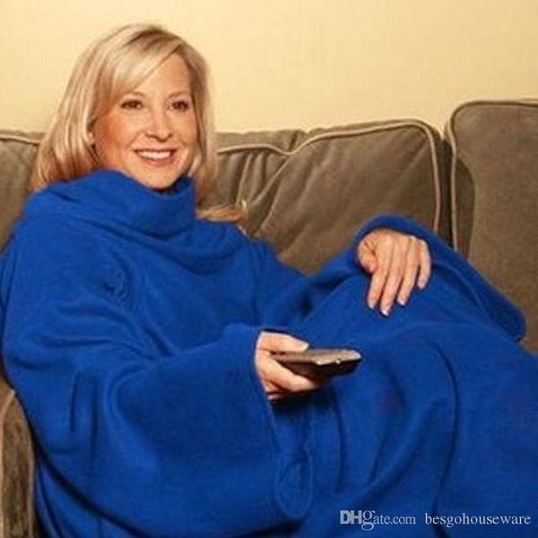 best selling 6 Colors Soft Warm Blanket Robes Cloak Snuggie Wearable Comfortable Sleeves Coral Fleece Blanket Winter Lazy Blanket TV Blankets BH2227 CY