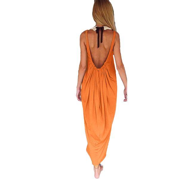 4XL 5XL Oversized Solid Dress Women Plunge Backless O Neck Plus Size Tank Dress Sleeveless Long Maxi Casual Beach Sundress 2019
