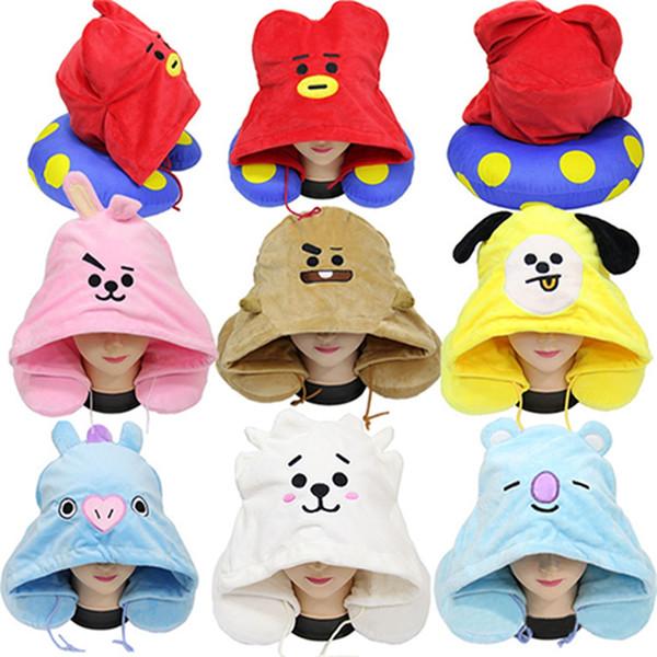 Оптовая 7 цветов прекрасный красочные вышитые подушки мультфильм чучела плюшевые животных шляпа подушка с U-образный тепла шеи подушки DH0725 T03