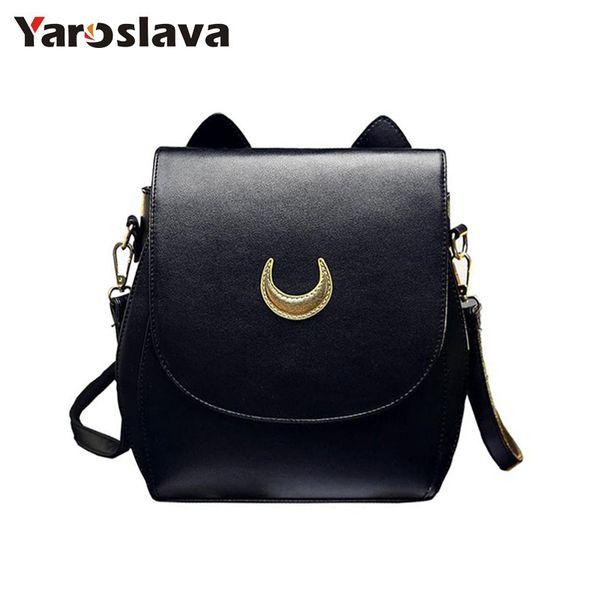 New Sailor Moon Black Pu Leather Backpack Women Shoulder Rucksack 2019 School Bags For Teenage Girls Brand Sac A Dos Femme Ll34 Y19051405