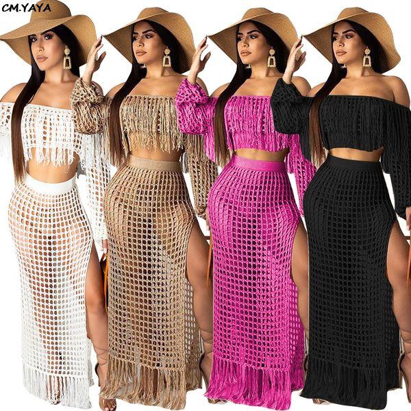 2019 women summer mesh grid see though tassel off shoulder crop top side split maxi skirts two piece beach set long dress TS938