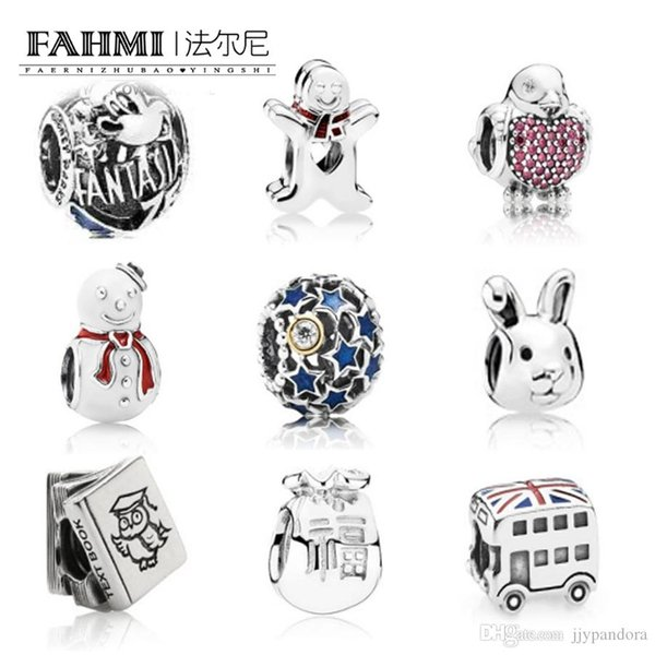 FAHMI Summer Collection 925 Sterling Silver Beads Fish Charms With Enamel And CZ Fitted Original Bracelet Jewelry