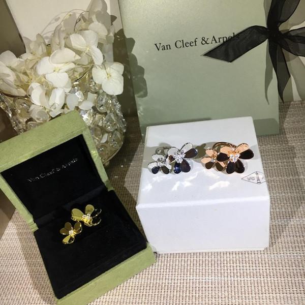 Lüks Yüzükler Frivole Yonca Pırlanta Yüzük Lüks Takı Elmas Çiçek Kutusu ile Kadınlar için Düğün Hediyesi