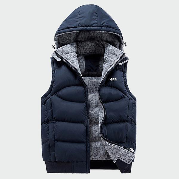 Fashion Sleeveless Jacket Mens Thickening Cotton Vest Hat Hooded Warm Vest Winter Male Waistcoats Men Casual Windbreakers Ml049