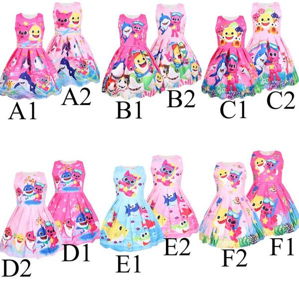12 muchachas del estilo del bebé shark dress 2019 nuevos niños encantadores de dibujos animados shark princess vestidos de fiesta falda de noche de los niños ropa C21