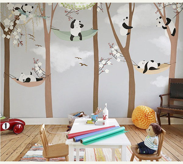Bacaz Large Cute Panda Trees 3D Cartoon Murals Wallpaper for Baby Child Room 3d Wall Photo Mural Wall paper Stickers
