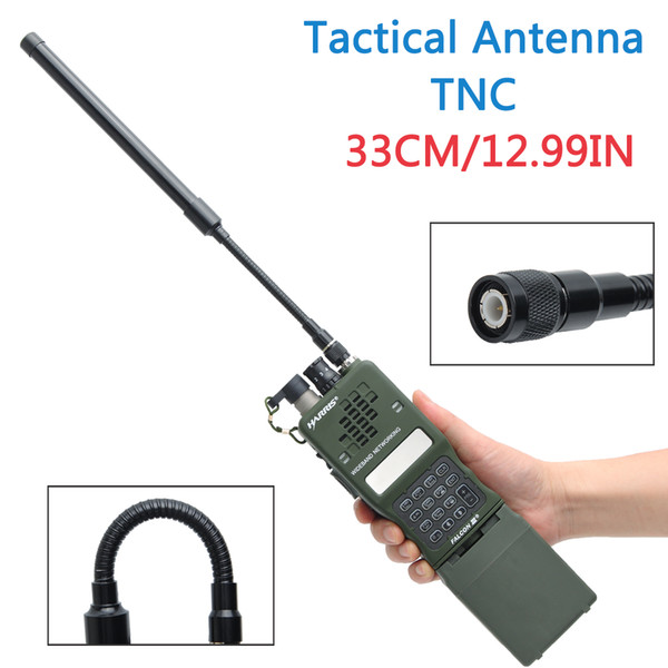 top popular ABBREE TNC Connector VHF UHF Dual Band Foldable Gooseneck Tactical Antenna For Kenwood Harris AN PRC-152 148 Walkie Talkie Radio 2021