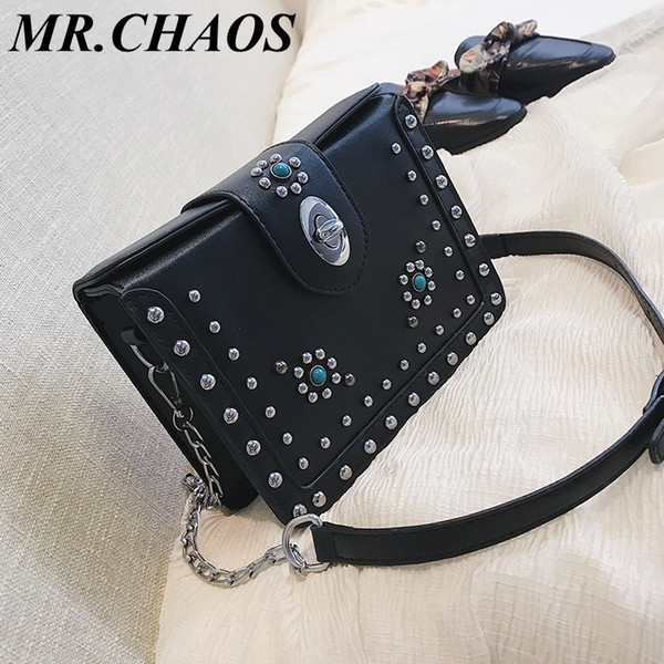 Kleine Tasche weiblich 2019 neue Flut wilde Messenger Bag Mode Niet rhombische Kette kleines Quadrat