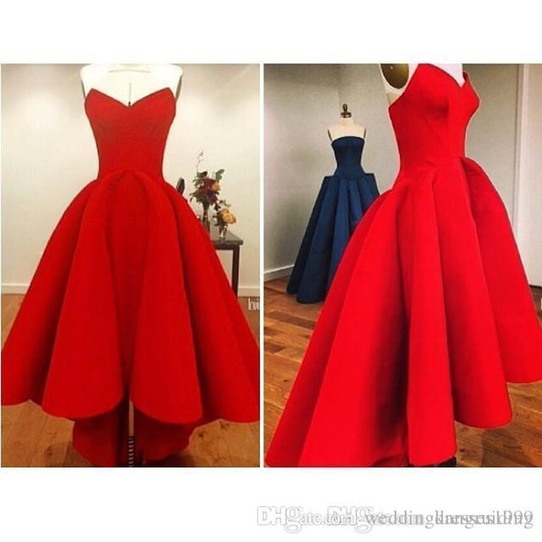 2018 Bright Red Sweetheart Hi Lo Prom Dresses Plus Size Satin Back Zipper Ruffles Gorgeous Sexy Girl Party Evening Gowns High Low Affordable