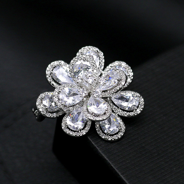 wholesale Mirco Pave CZ Zircon Pins and Brooches Teardrop Crystal Large Flower Brooch for Women Men Suit Scarf Clip Fashion Jewelry