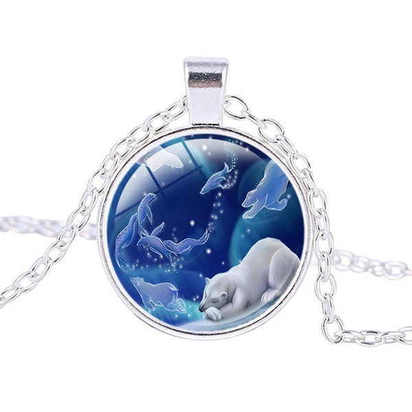 2019 new fashion ideas Time Gem Cute Bear Polar Bear Glass Dome Long Alloy Necklace Sweater Chain Wholesale