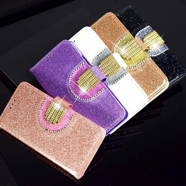 Multifunction Sparkle Wallet Leather Case For Huawei P30 Mate 20 Galaxy Note 10 Pro S10 Plus Bling Diamond Mirror Glitter Luxury Flip Cover