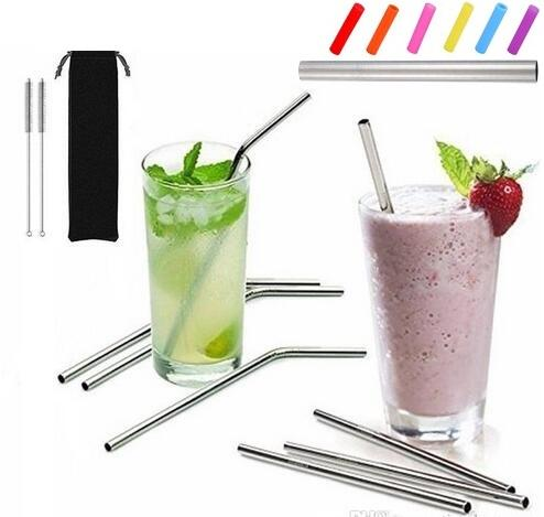 """top popular More size stainless steel straw straight and bent 8.5""""  9.5""""  10.5"""" reusable drinking straw with processed nozzles kitchen bar drinking tool 2021"""