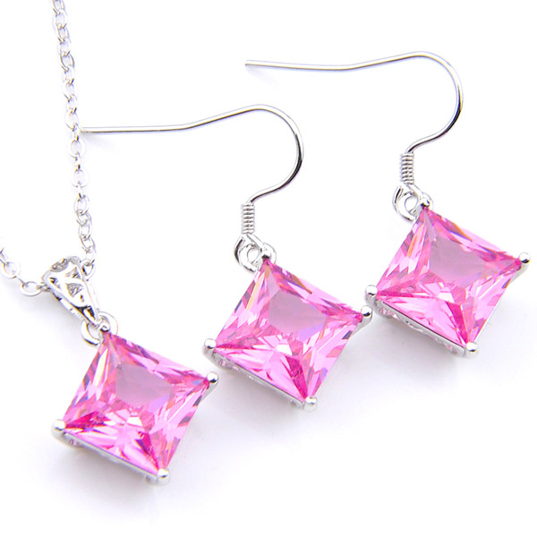 Very nice Jewelry LuckyShine Pink Topaz Cubic Zirconia Crystal Gems 925 Sterling Silver Wedding Pendants Earring Set With Chain
