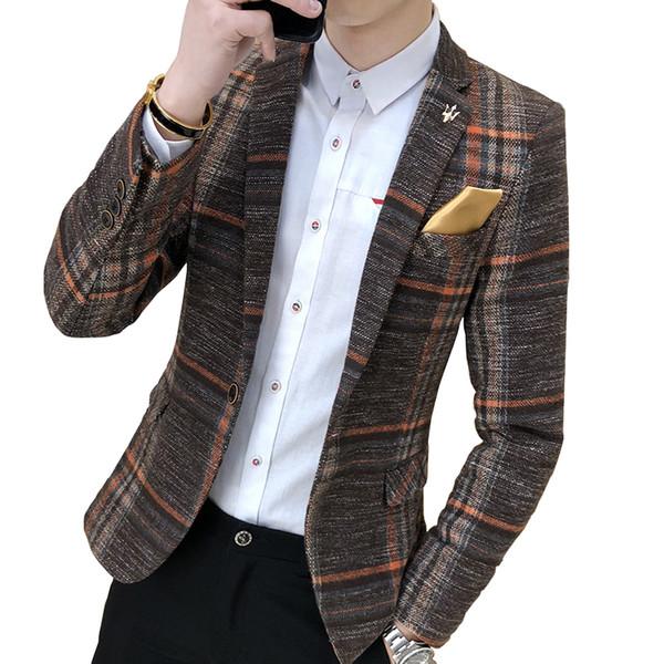 Мужская мода Бутик моды свадебное платье гусиные лапки костюмы пиджаки / мужские чистый цвет свободного покроя бизнес плед костюм куртка пальто