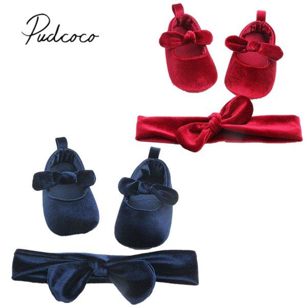 Newborn Baby Girl Soft Princess Velvet Crib Shoes Anti-slip Sneaker Prewalker