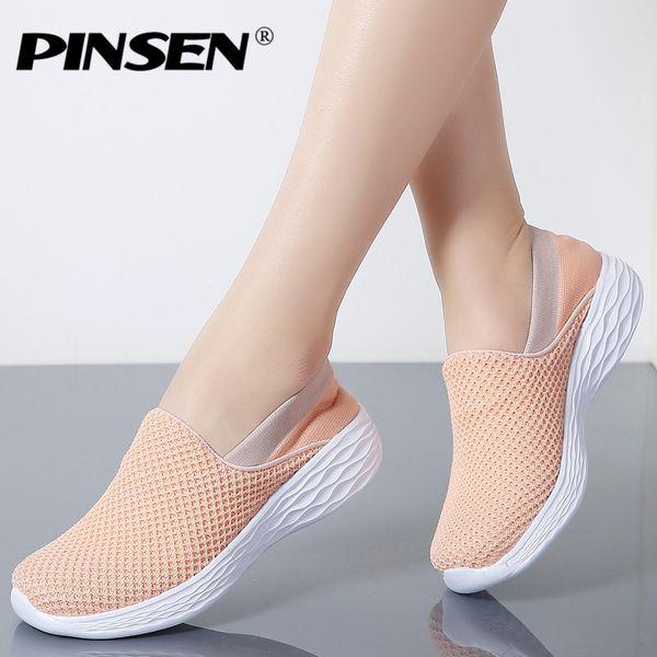 Pinsen 2019 Primavera Mulheres Sapatilhas Sapatos de Malha Respirável Mulher Ballet Slip On Flats Loafers Senhoras Sapatos Trepadeiras Zapatos Mujer Y190704