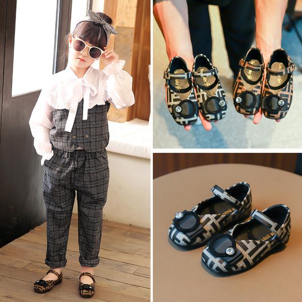 2019 Enfants chaussures enfants noeud noeud plaid chaussures de sport chaussures princesse pour bébés filles 2 couleurs